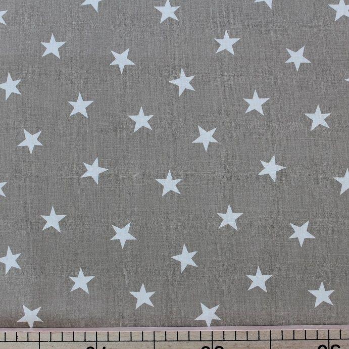 Plátno hvězdy bílá na béžové - Látky Chameleon