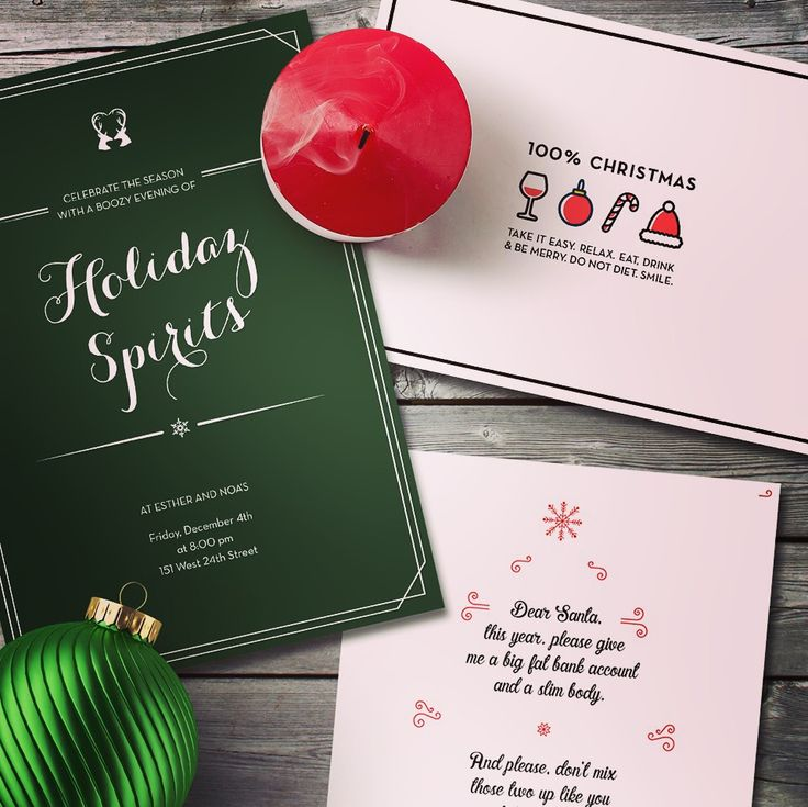 Christmas and Holiday Invitations! Eat, Drink and be Merry.