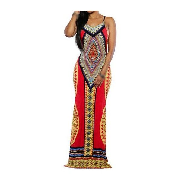Rotita V Neck Open Back Tribal Print Maxi Dress ($21) ❤ liked on Polyvore featuring dresses, red, spaghetti strap dress, sleeveless dress, maxi dress, red spaghetti strap dress and red dress