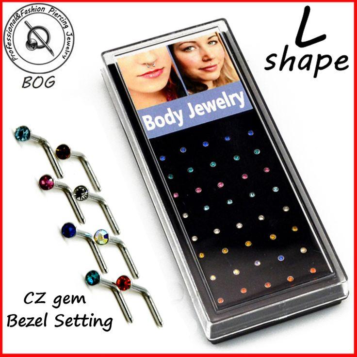 BOG-40pieces 2mm Top Lucu Kecil Hidung Tulang Studs Bezel Pengaturan CZ Cincin Hidung Piercing Perhiasan Tubuh 20g L Bentuk Bedah baja