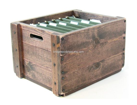 Wooden File Crate Wood Filing Box Office File by BridgewoodPlace