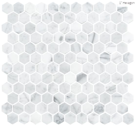 "Carrara Extra Marble 1"" Hexagon #marble #faberstoneandtile"