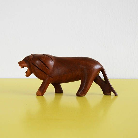 Vintage Wooden Lion Figurine Retro Hand Carved Teak Lion