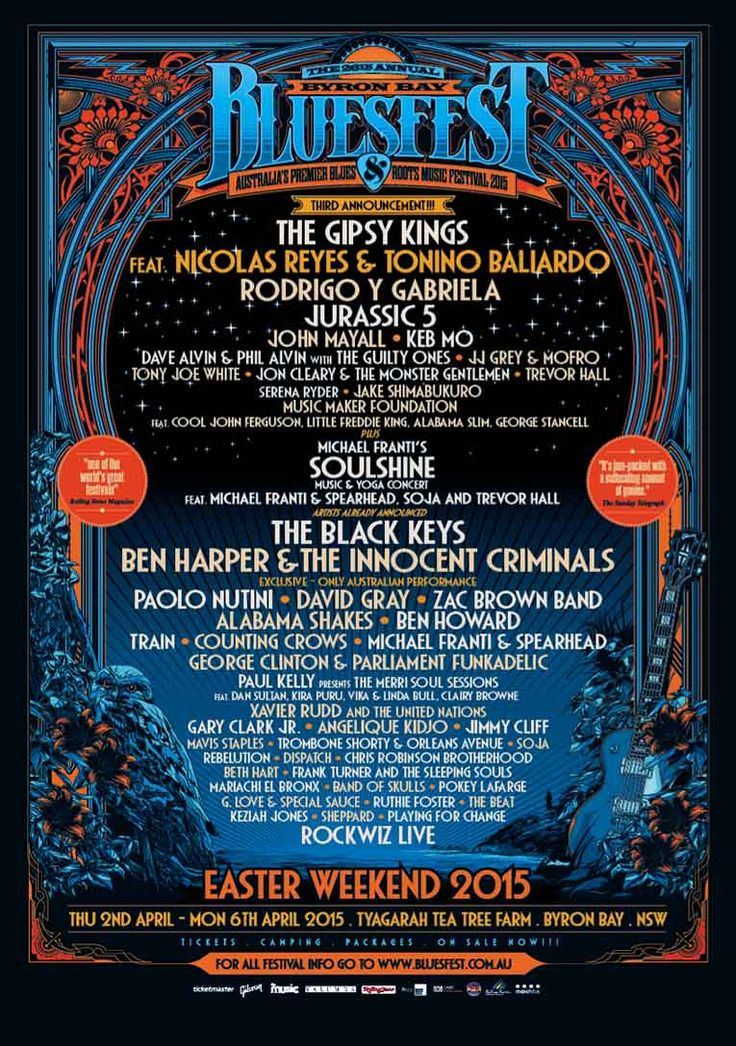 Byron Bay Bluesfest - Home Page OMG! The artists at this festival are most of my favorites!!!!!!!