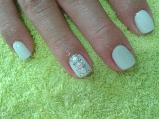 White wedding nails!!