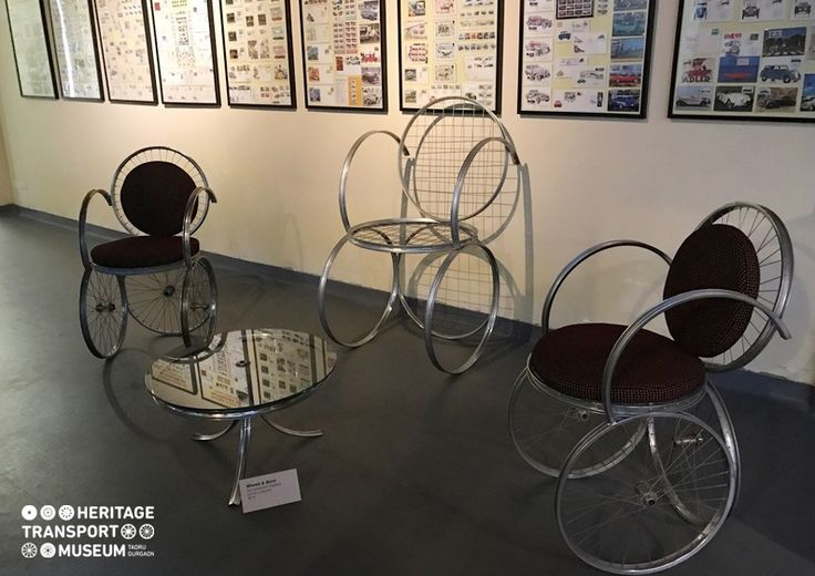 The table and chairs displayed in the contemporary art section of the museum. These creative expressions are generated from the cycle rims! :)  www.heritagetransportmuseum.org  #heritage #transport #museum #htm #manesar #rim #contemporaryart #travel #art #vintagestyle #vintage #incredibleindia