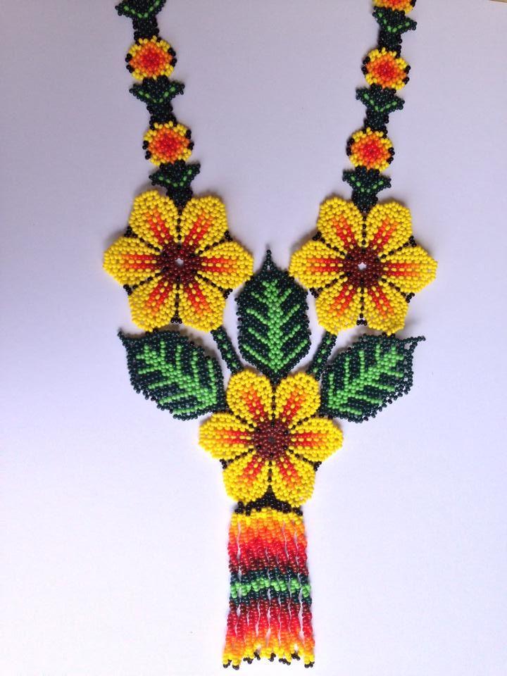 Yellow Huichol Flowers Necklace