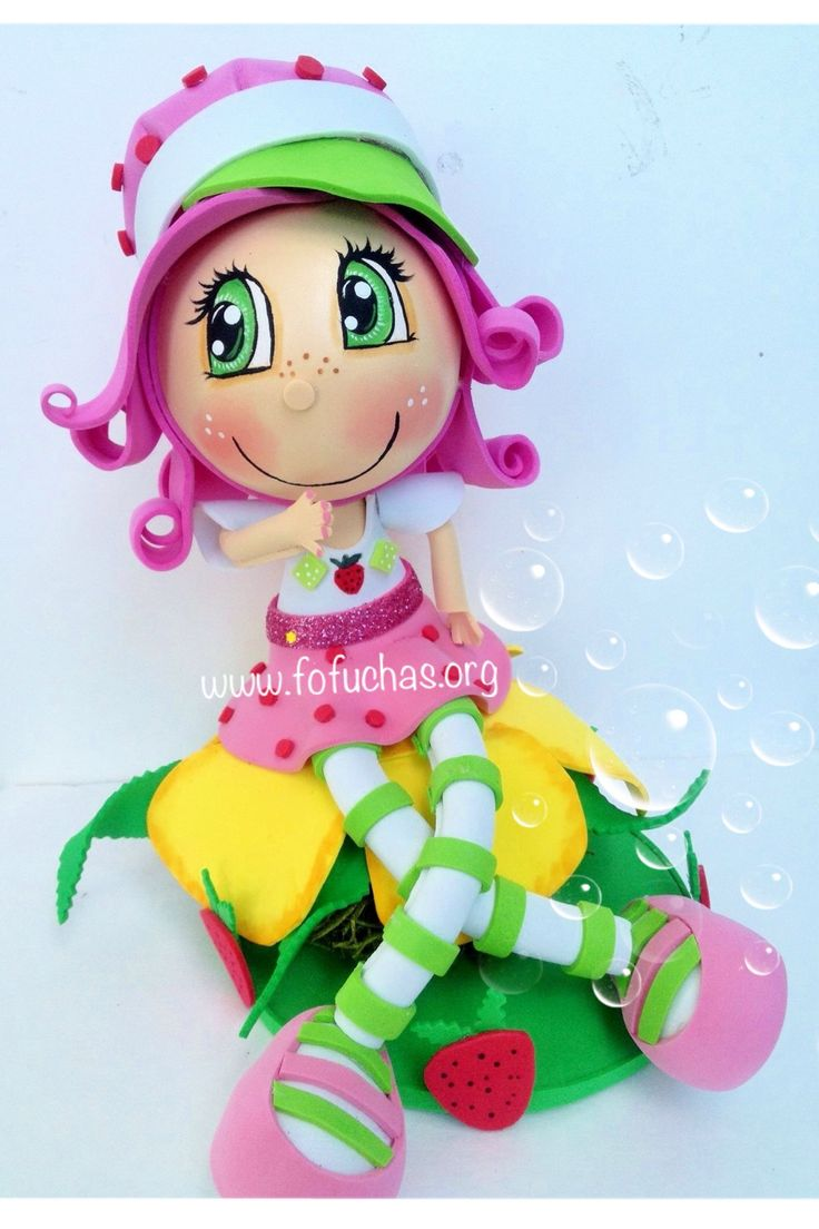 Inspired in Strawberry Shortcake Is this lovely handmade Fofucha doll. She is made using foam sheets. She is sitting ontop a flower made out of foam and styrofoam covered in moss. She is approx. 9 inches in height. She would make a lovely room decor. Can also be used as a birthday centerpiece or caketopper. to purchase visit fofuchas.org or like us on facebook.com/fofuchashandmadedolls #foamdoll #StrawberryShortcake #fofuchas