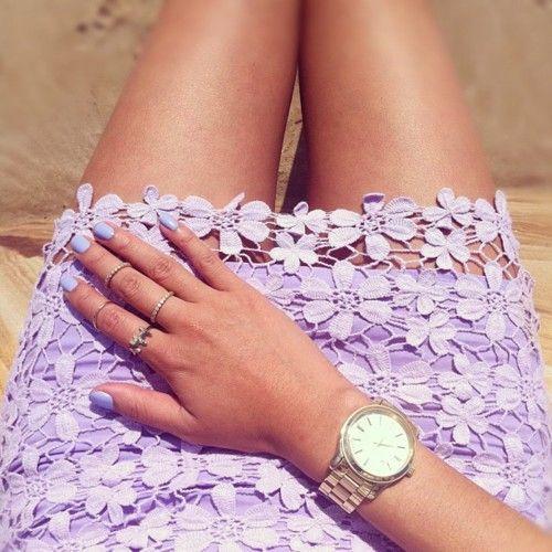 Lilac nails + skirt