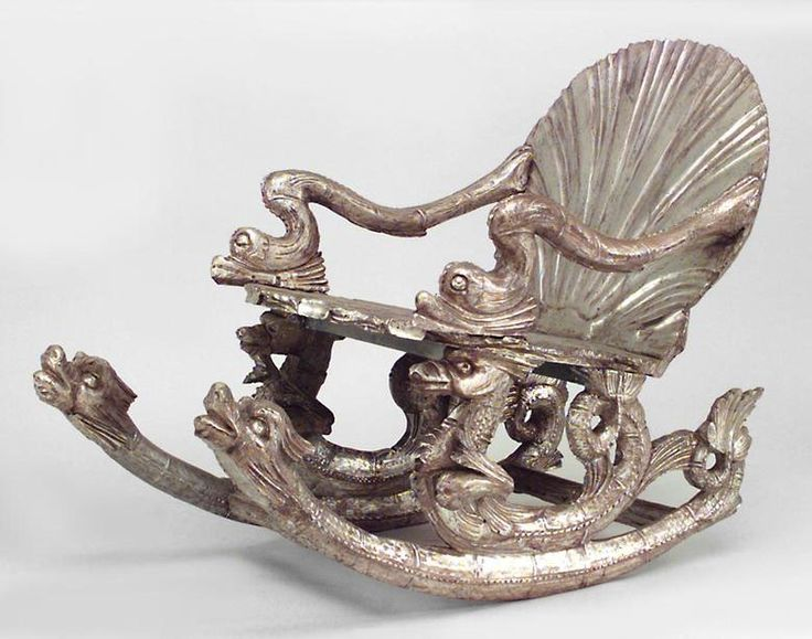 Italian Venetian Grotto (19th cent.) silver gilt rocker with carved seashell seat & back and seahorse sides (att: Pauly et Cie, Venice)
