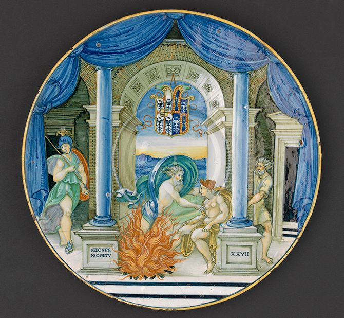 Nicola di Grabriele Sbraghe da Urbano (ca. 1480-1537/38) Service of Isabella d'Este (1474-1539), Plate with the legend of Jupiter and Semele, Italy, Urbino, ca. 1524-1525 Majolica a istoriato, painted in polychrome, D. 27,1 cm National Gallery of Victoria, 4710.3
