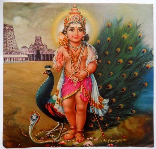 Calendar Art Of Hindu Gods : Peacock india vintage calendar print hindu god kartikey