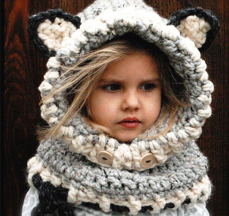 Baby Oranje Vos Kat Winter Beanie Kids Jongen Meisje Warme Hoed Hooded Sjaal Oorklep Gebreide Cap(China (Mainland))