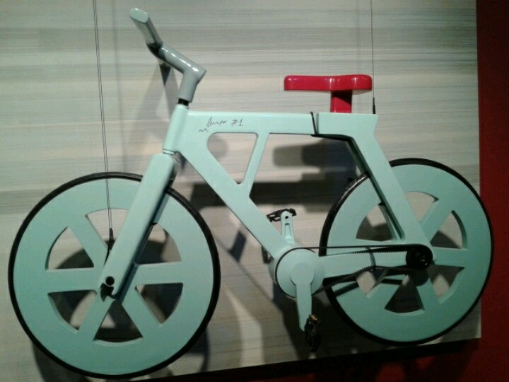 Cardboard bicycle in the Museum of Science and Industry