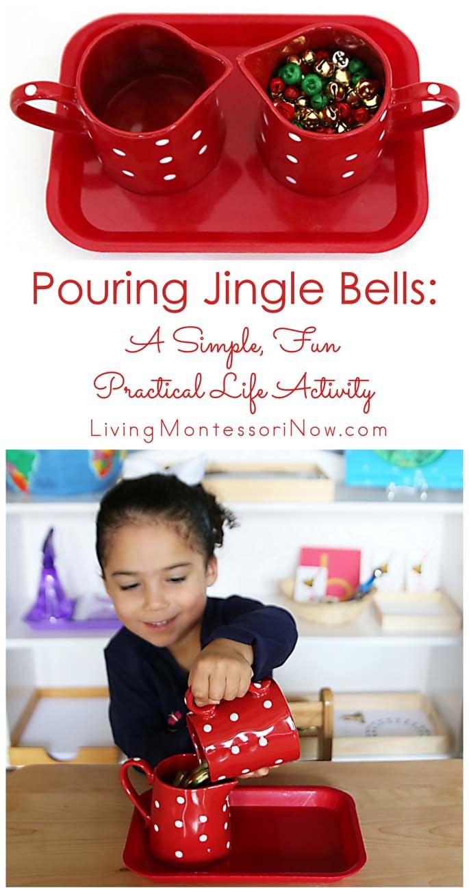 Pouring jingle bells is a fun Montessori-inspired holiday activity that helps preschoolers develop order, concentration, coordination, and independence. It's simple to prepare, too!