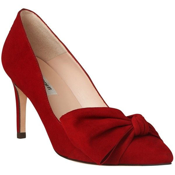 L.K. Bennett Caitlyn Bow Stiletto Heeled Court Shoes , Roca Red Suede ($265) ❤ liked on Polyvore featuring shoes, pumps, roca red suede, red pumps, flat shoes, pointy toe pumps, high heel pumps and suede pointed toe pumps