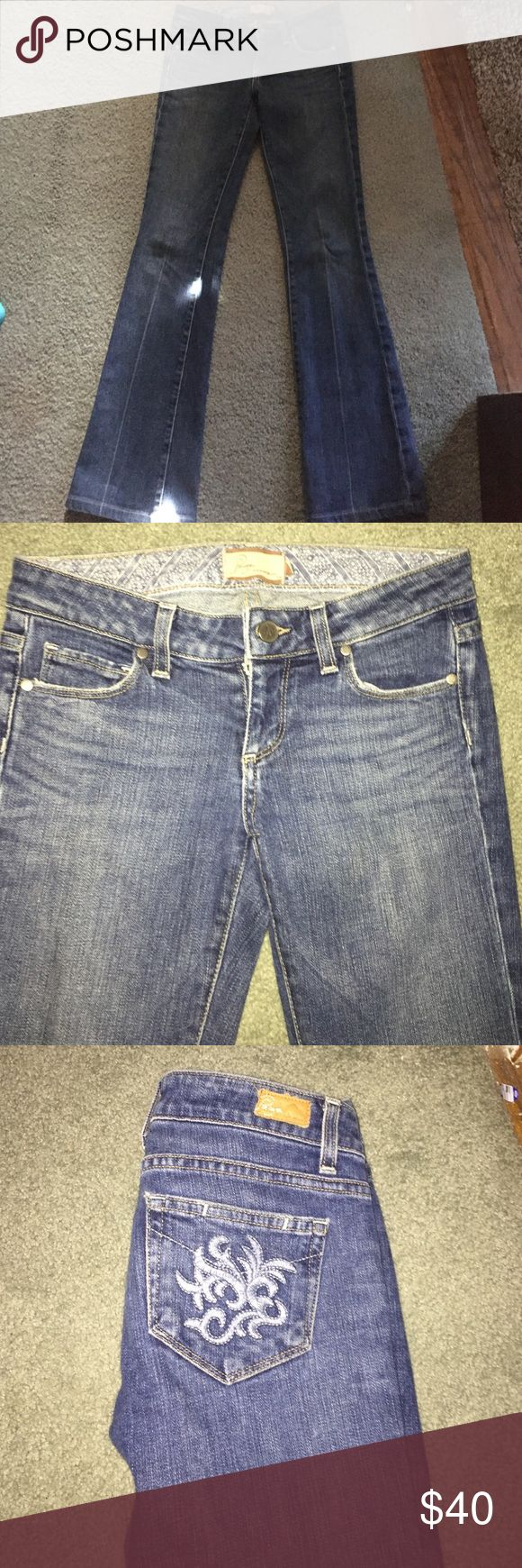 Used Paige Jean Used but in great condition. Stretch and boot cut. Back pockets have design on butt. Paige Jeans Jeans Boot Cut