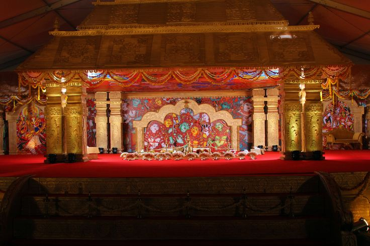 Traditional temple theme with murals- The south Indian gala wedding stage