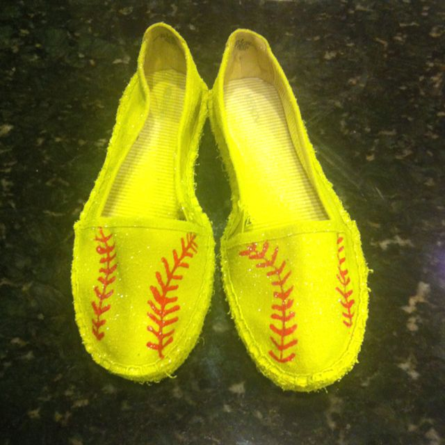 Softball shoes!!!!  I spray painted them with Krylon Lemon Yellow and used red fabric paint for the seams!