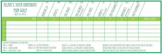 Pub Golf / Bar Golf Scorecard Printable (Fully Customisable) #PubGolf #BarGolf