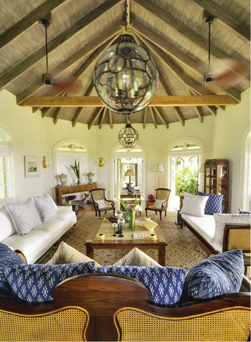 Can't copy the ceiling but have a chance of mimicking the furniture style. [Tropical villa getaway on Mustique ..island style]
