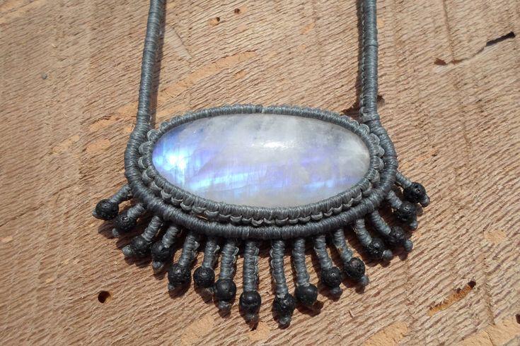 rainbow moonstone macrame necklace,gemstone necklace,macrame pendant,macrame jewelry,healing gemstone,rainbow moonstone jewelry,boho chic by ARTEAMANOetsy on Etsy