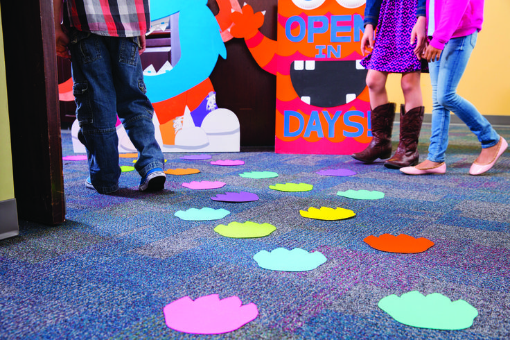 Get kids talking! Make a path of monster footprints to the front doors of your Book Fair.