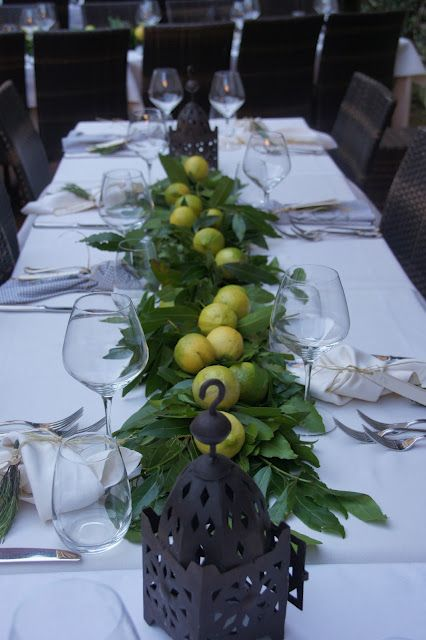 lemons: Tables Sets, Fall Decor, Candan Kiram, Tables Centerpieces, Lemon Centerpieces, Parties Ideas, Leaves, Tables Decor, Center Pieces