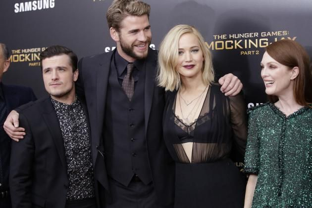 Josh Hutcherson, Liam Hemsworth, Jennifer Lawrence and Julianne Moore arrive on the red carpet at 'The Hunger Games: Mockingjay- Part 2' New York Premiere at AMC Loews Lincoln Square 13 Theater on November 18, 2015 in New York City. Photo by John Angelillo/UPI