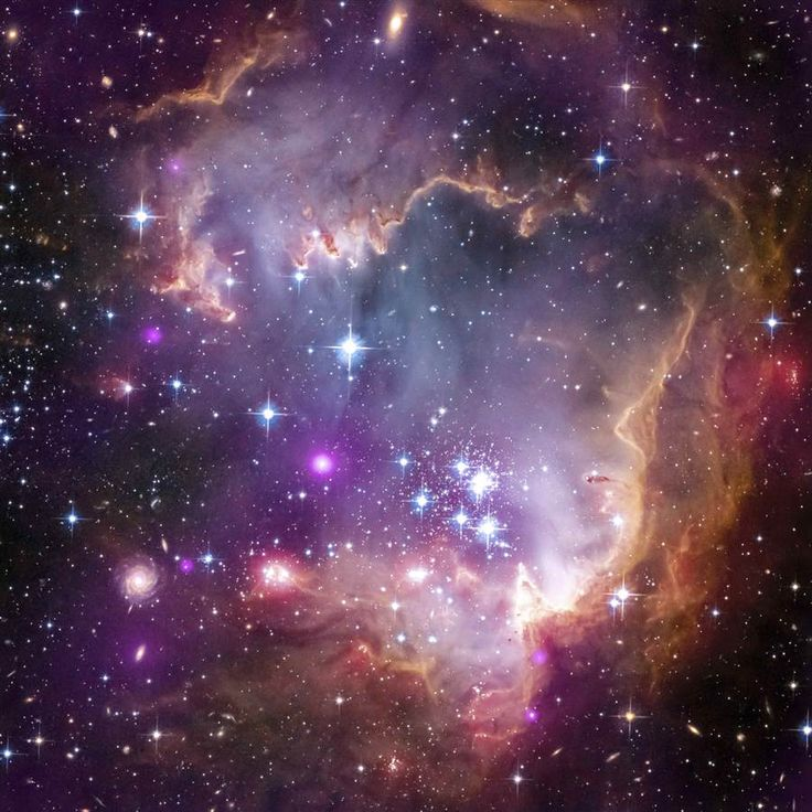 """This glittering picture shows X-ray emissions from young sunlike stars in the """"wing"""" of the Small Magellanic Cloud, a satellite galaxy associated with the larger Milky Way. The Small Magellanic Cloud lies about 180,000 light-years from Earth. In this April 4 picture, readings from the Chandra X-ray Observatory are shown in purple; visible light seen by the Hubble Space Telescope is in red, green and blue; and infrared readings from the Spitzer Space Telescope are indicated in red."""