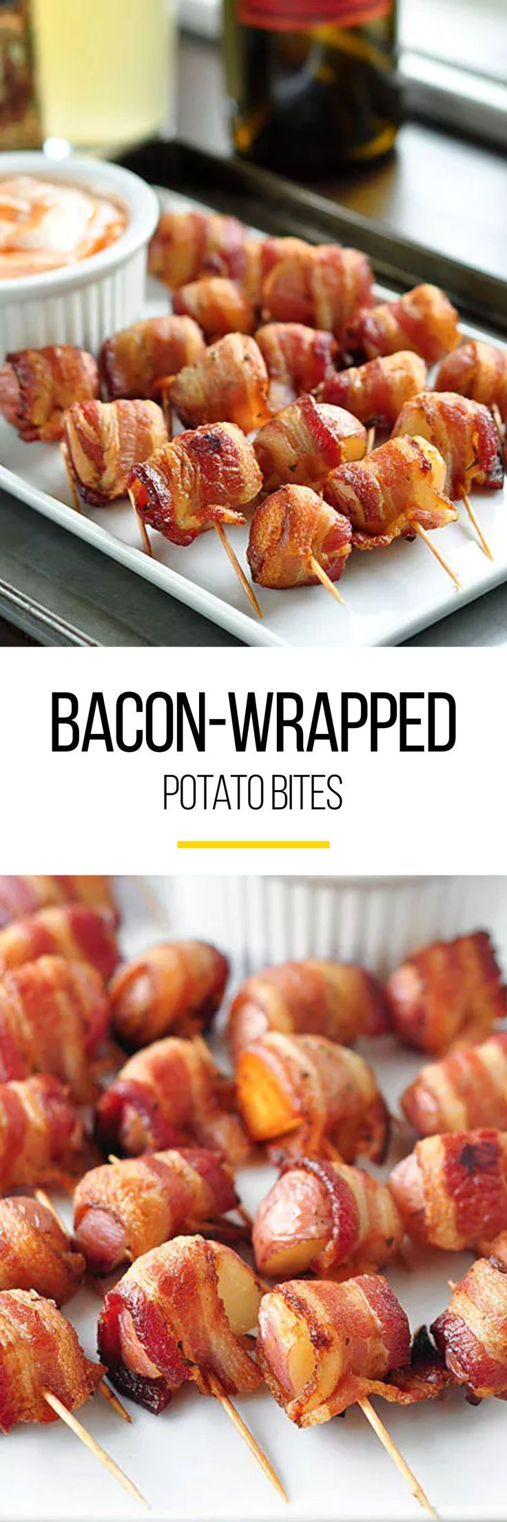 Bacon-Wrapped Potato Bites with Spicy Sour Cream Dipping Sauce Recipe. This is one of the best party food ideas around! Great for a tailgate, a sports party of any kind - even the superbowl! Also fancy enough for a one-bite appetizer for new years eve for crowds of adults and children alike. Snacks like this are cheap, SIMPLE, and DELICIOUS.