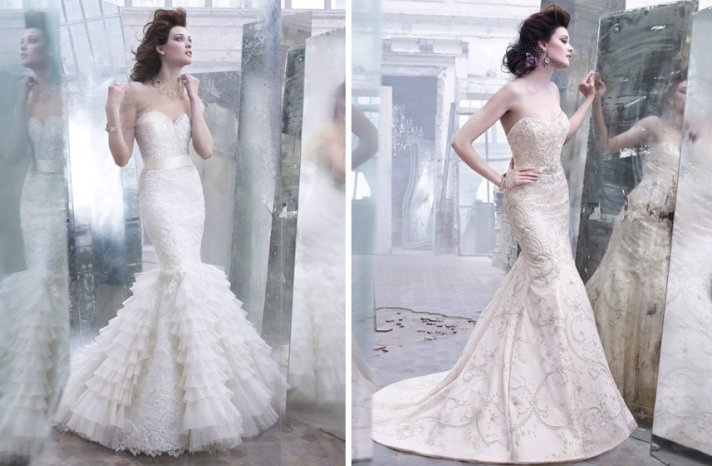 romantic fall 2012 wedding dresses Lazaro bridal gown mermaid fit and flare beading applique