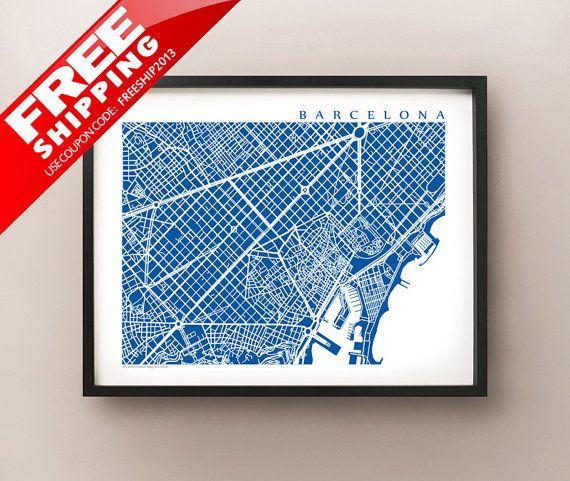 Barcelona City Map Art Print - choose your colour and size - by CartoCreative, $20.00