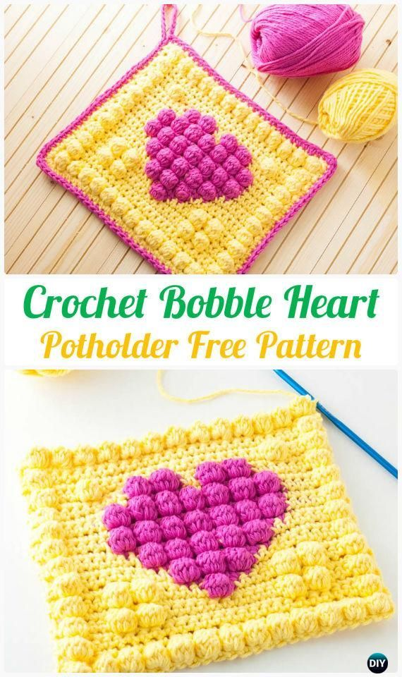 Crochet Bobble Heart Potholder Free Pattern - #Crochet Pot Holder Hotpad Free Patterns