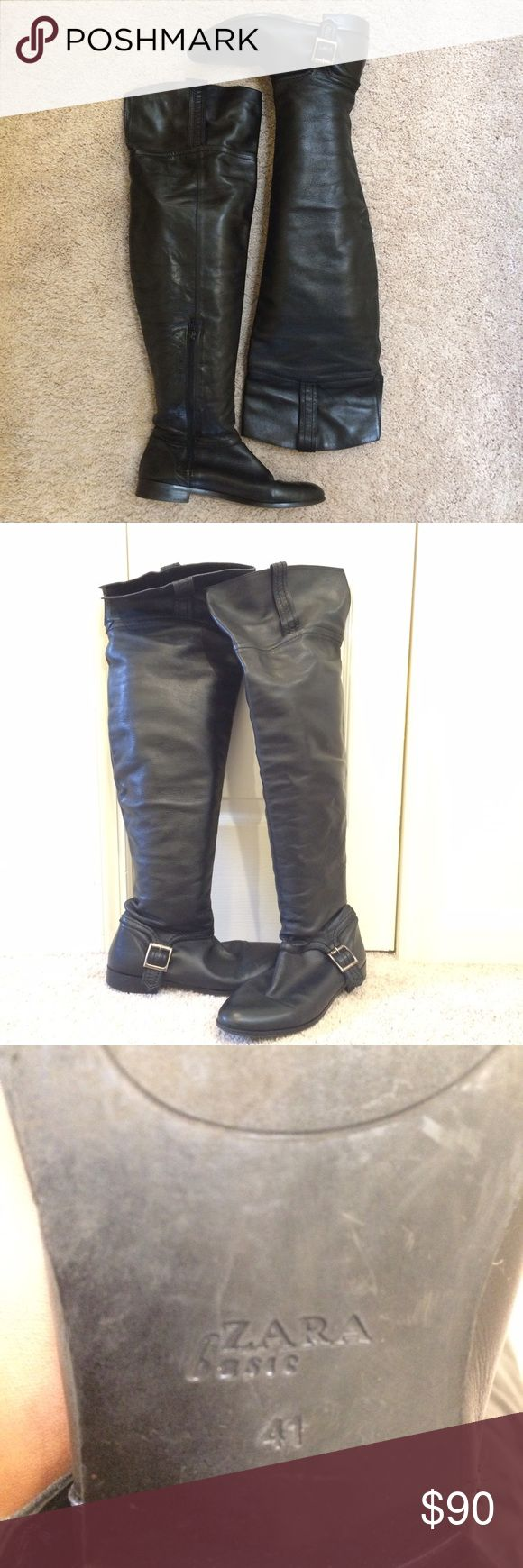 Leather Zara women's over the knee boots 41 Great condition, black leather Zara over the knee boots. A must have for the season! Zara Shoes Over the Knee Boots