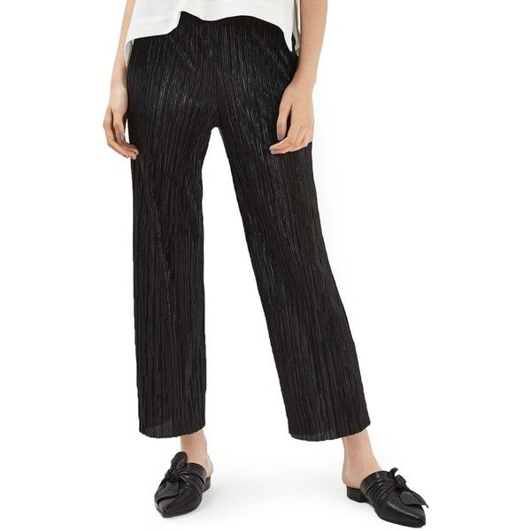 Petite Women's Topshop Plisse Trousers (£48) ❤ liked on Polyvore featuring pants, capris, black, petite, petite elastic waist pants, cropped pants, pleated pants, pleated trousers and petite crop pants