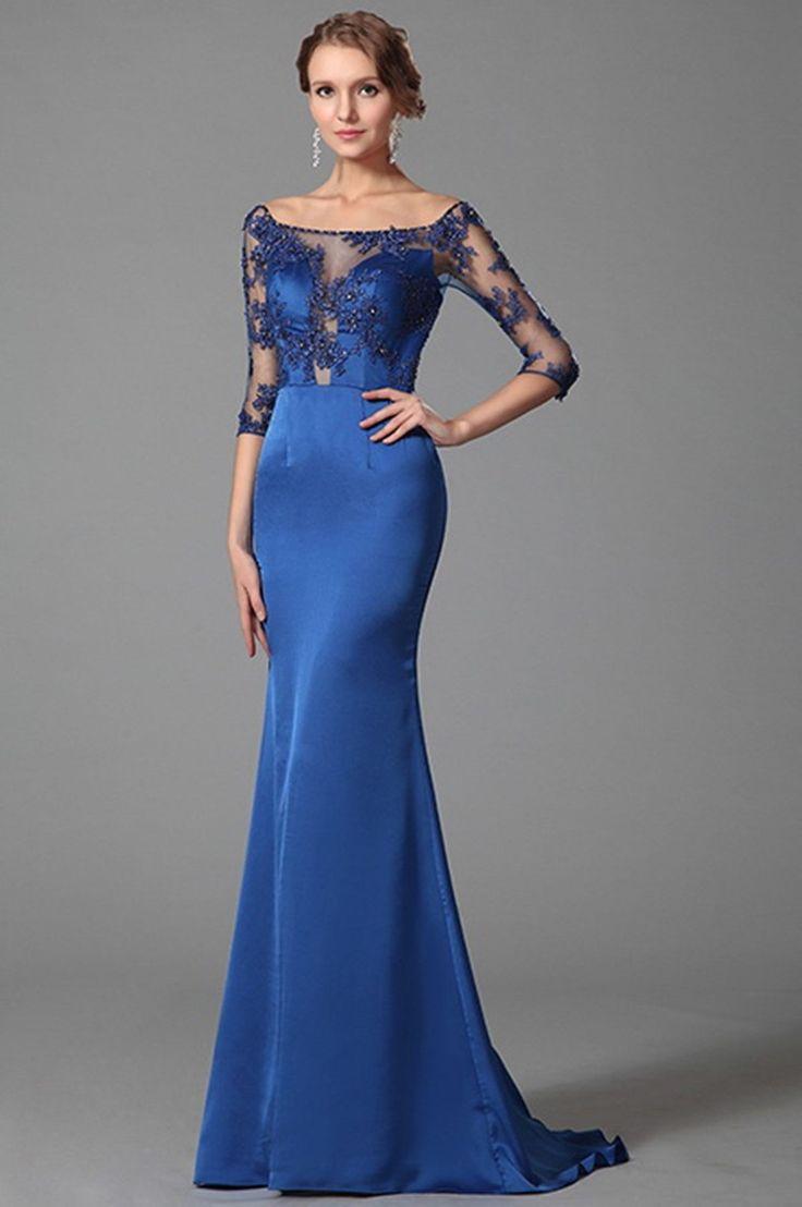 Luxusné modré spoločenské šaty  E00385 - hlavná fotka