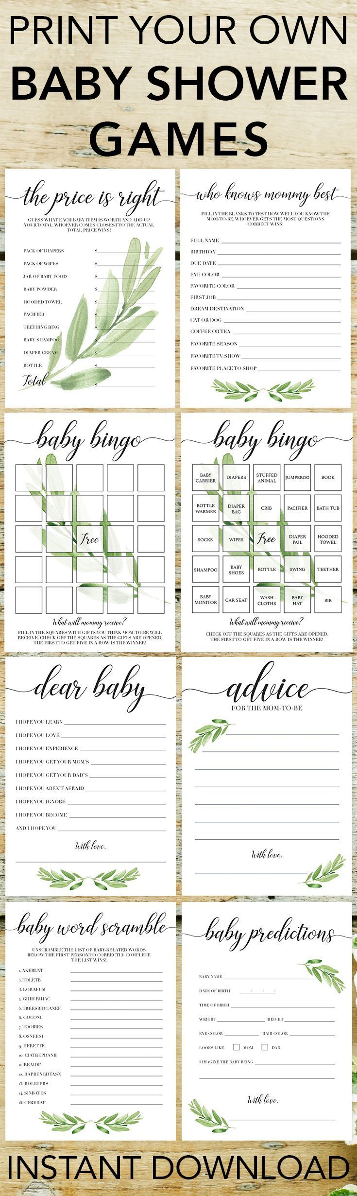 Popular baby shower games by LittleSizzle. Click through to download yours or re-pin for later! Printable games for baby shower gender neutral. Entertain large groups of guests with these gorgeous greenery printable games for baby shower. Perfect for any #BabyGames