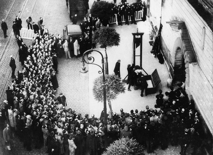 Last public guillotining in France (Eugen Weidmann), an event witnessed by the actor Christopher Lee. 17 June 1939