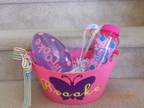 personalized Easter basket set by kellyspolkadots on Etsy
