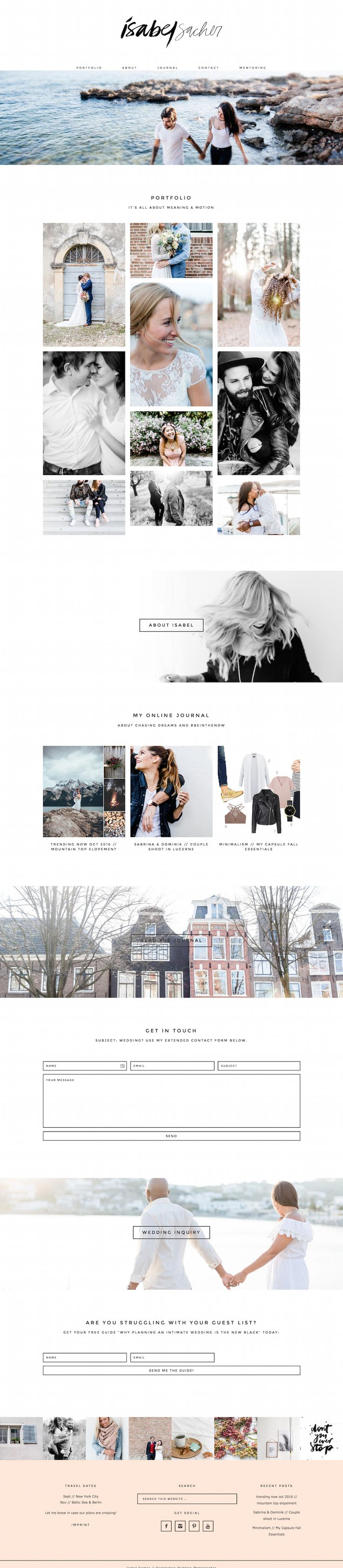 We love Isabel Sacher's Photography site running on Station Seven's Coastal WordPress theme.