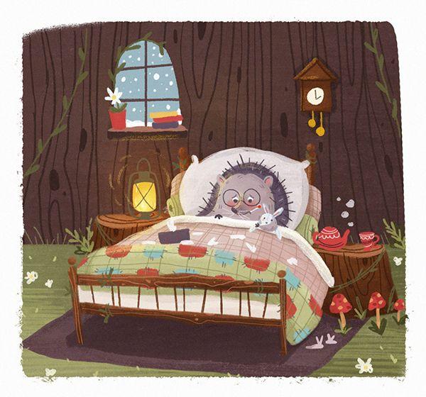 Картинка спящий ежик в кроватке