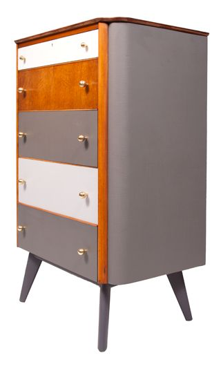 Midcentury Oak Chest of Drawers Painted