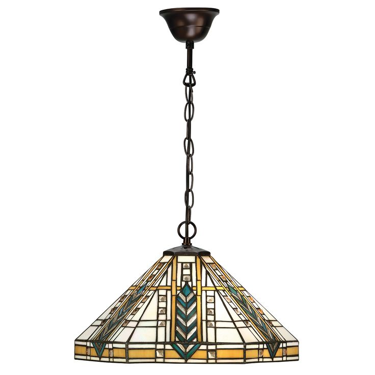 Lloyd 64238 Tiffany Medium 1 Light Pendant Tiffany style glass & bronze paint effect The Popular Lloyd Tiffany Collection is inspired by the American Art Deco architect Frank Lloyd Wright. Created using beveled glass beading to really catch the light anf teamed ith traditional Bronze Effext Fittings. 1 x 60w E27 GLS Lamp not included Height: 44 - 140cm Diameter: 41cm  BRAND:Interiors 1900 REFERENCE64238