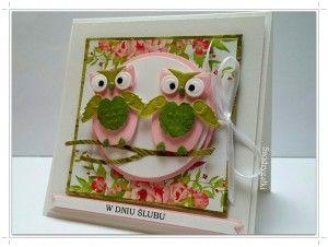 Kartka ślubna z sówkami
