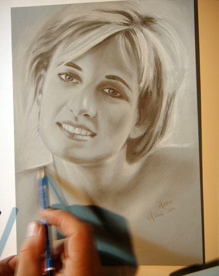 Lady Diana portrait in technique dry brush by Alessio Atzeni