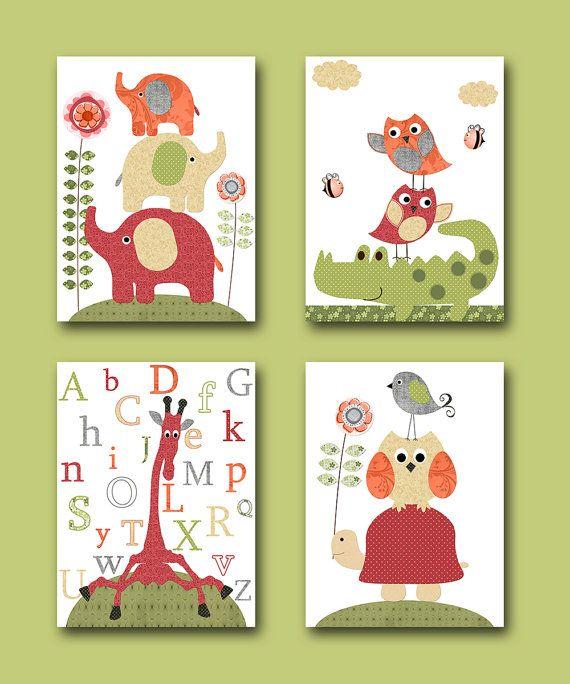 Insieme di vivaio per bambini arte bambini parete arte bambini camera Baby camera Decor Baby Print bambini arte Baby Nursery Print di alfabeto di crema rosso 4
