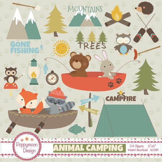 Animal camping tents fishing mountains printable digital