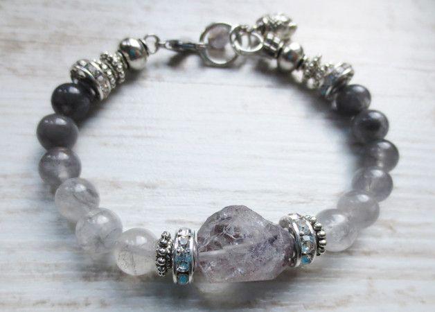 Armbänder - Luxus Armband Rauchquarz grau silber Kristall - ein Designerstück von weibsbild bei DaWanda