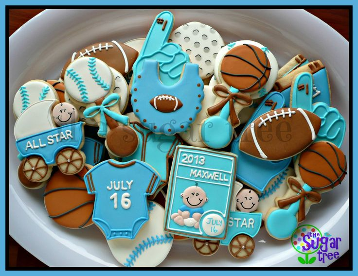 Beautiful Sports Themed Baby Shower Cookies